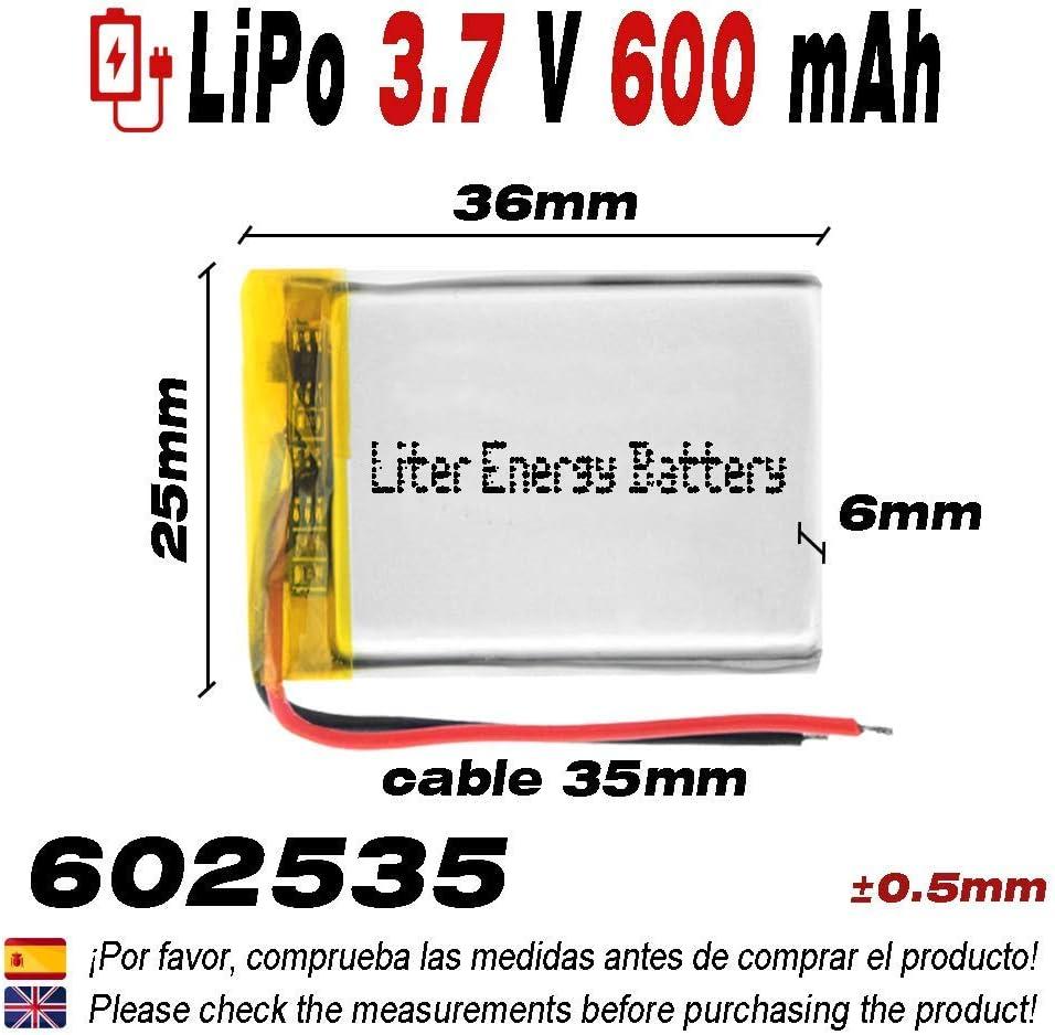 DronePost Bater/ía 602535 LiPo 3.7V 600mAh 1S tel/éfono port/átil v/ídeo mp3 mp4 luz led GPS