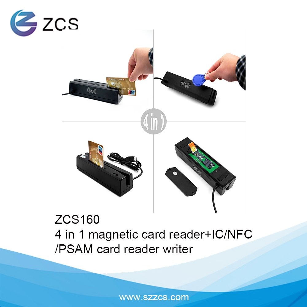 ZCS160 USB PSCS 4 in 1 Magnetic Card Reader + EMV chip/NFC/PSAM Card Reader Writer only for APDU Command Professional Person SZZCS