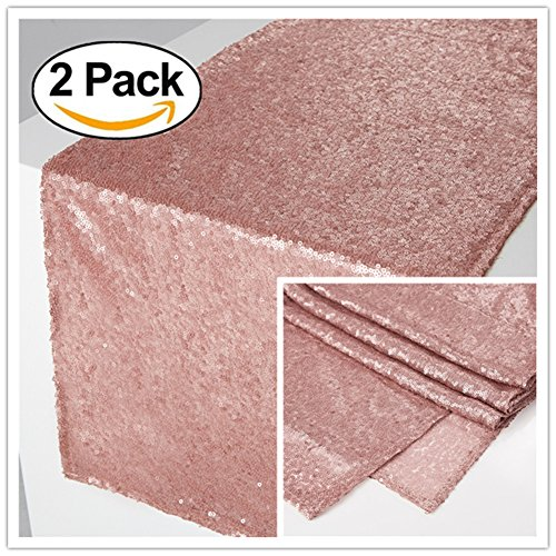 Zdada Blush Sparkly Tablerunners New Year Eve Dinning Room Sequin Table Linens-12 x72 Set of -