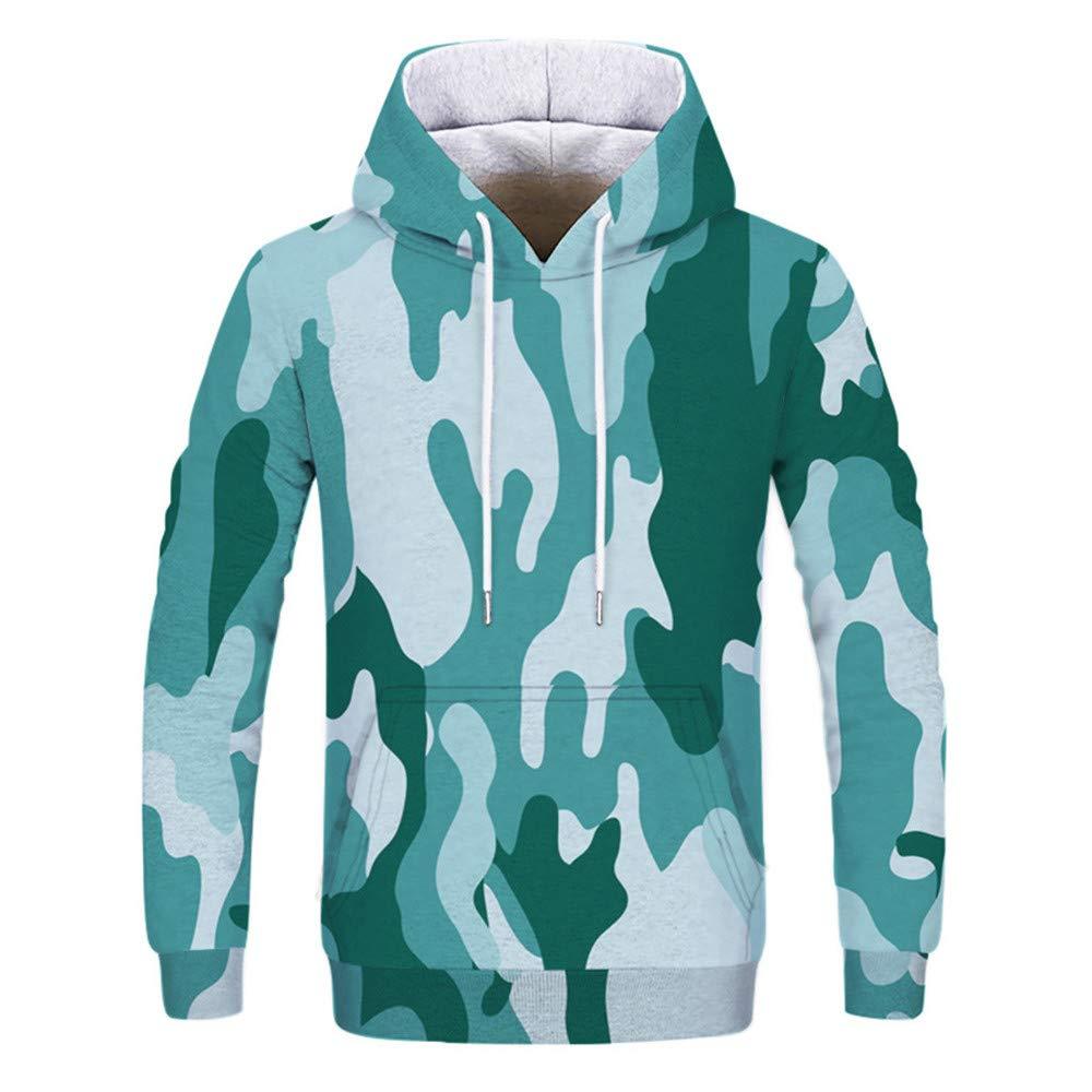 Mens Casual Autumn Winter Printing Long Sleeve Hoodies Sweatshirt Tops Blouse