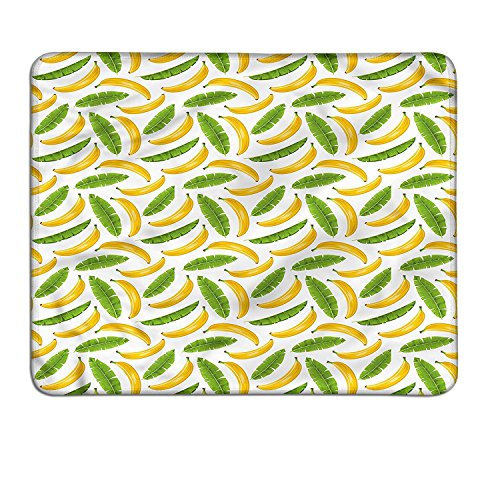 Playroom gaming mouse pad Banana Leaves Yummy Tropical Fruit Vacation Symbol Icons Climate Kids Printcustomizable mouse pad Fern Green Yellow