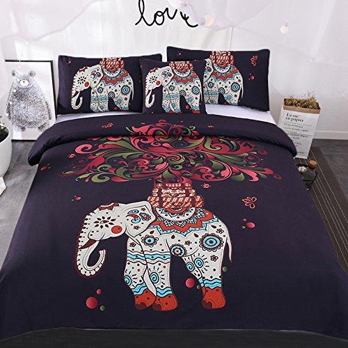 sleepwish 4 pcs bohemian bedspread ethnic elephant tree duvet cover exotic boho duvet cover elephant bed set king size