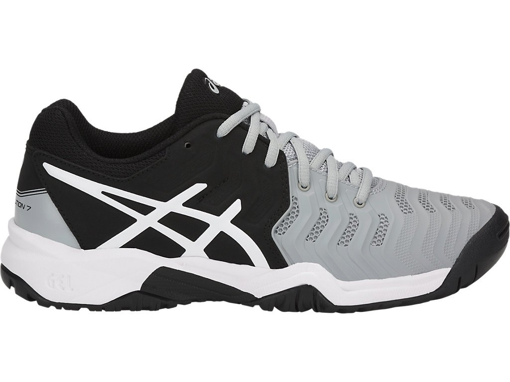 ASICS Kid's Gel-Resolution 7 GS Tennis Shoes, 1.5, MID Grey/Black/White