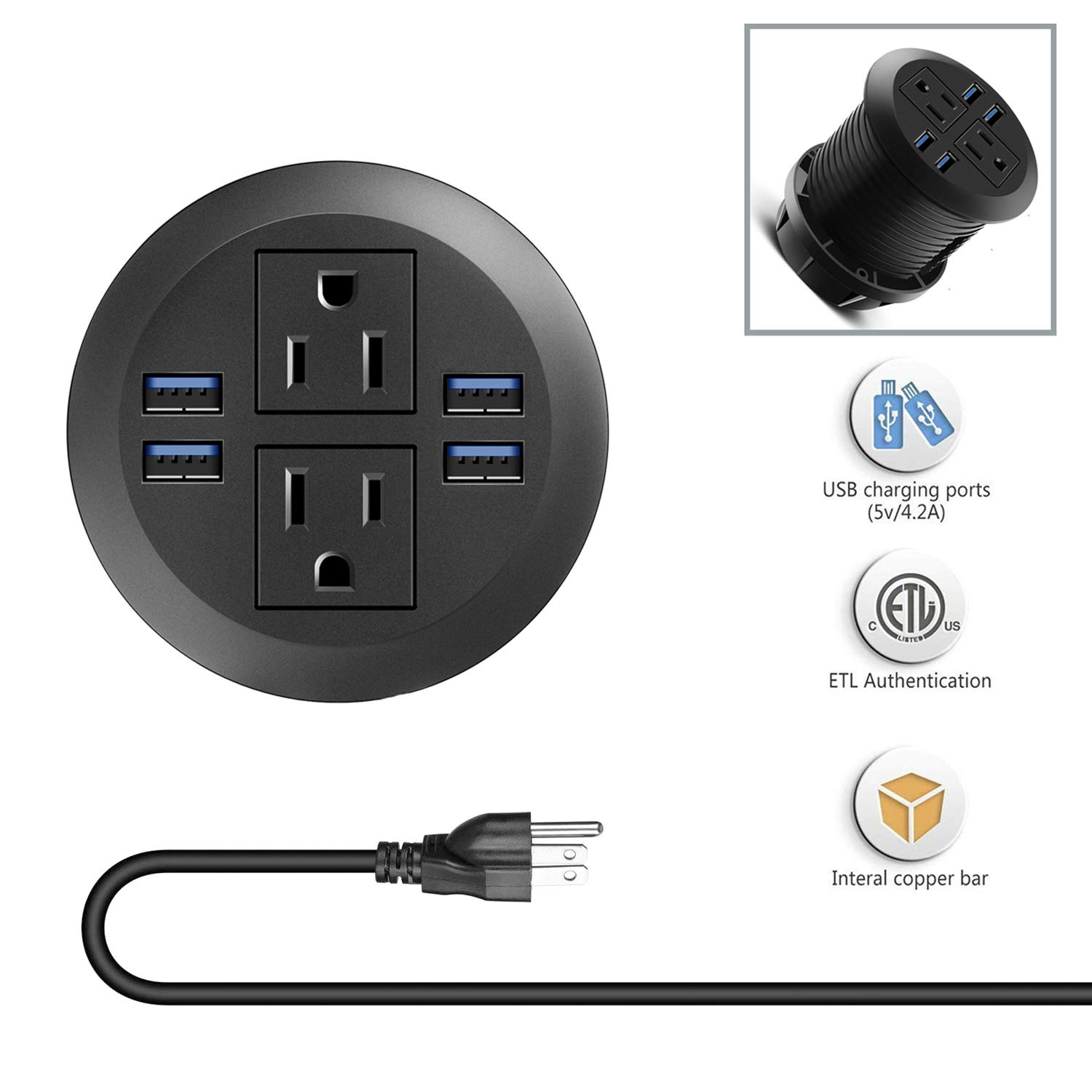 Desk Power Grommet Socket, Recessed Power Receptacle with USB, Connect 2 Plug Outlets, Mountable into 3 1/8 Inch Hole, for Conference Room Office Kitchen Table