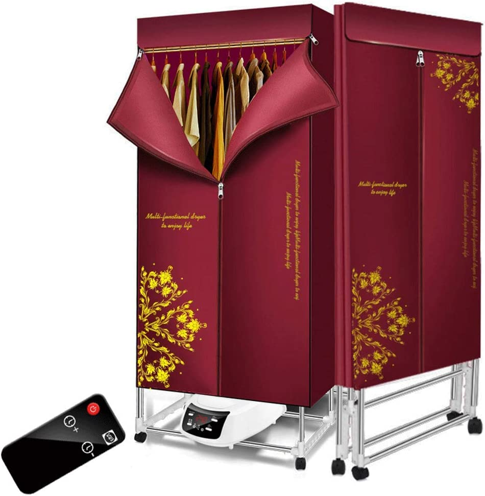 KOFOHON Foldable Clothes Dryer 110v-240v Electric Portable Household Folding-Dry Machine with Remote Control Adjustable Timer Low Noise for Home,Laundry,Apartment 1500W (Red-Flower)