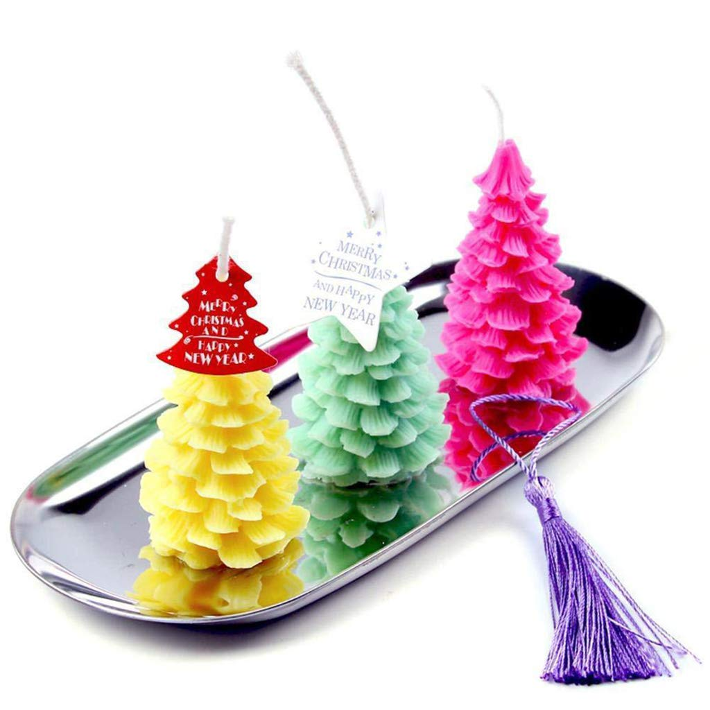 Fangzhimao 3D Christmas Tree Silicone Candle Mold Chocolate Decorating Baking Mould Tool Craft