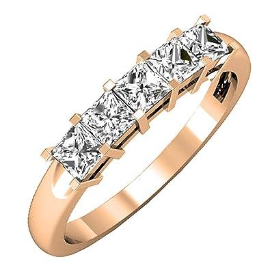 efb0be2298c 0.75 Carat (ctw) 10K Rose Gold Princess Diamond 5 Stone Bridal Wedding Ring  3