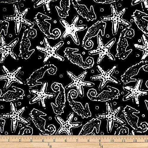 Parkside Fabrics Batik by Mirah Night Cruise Seahorses Black White Fabric Fabric by the Yard