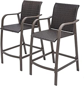 Crestlive Products Outdoor Wicker Bar Stools Patio Rattan Chairs, Backyard Furniture w/Heavy Duty Aluminum Frame in Antique Brown Finish for Pool, Garden, Deck, Indoor, 2 PCS Set(Brown)
