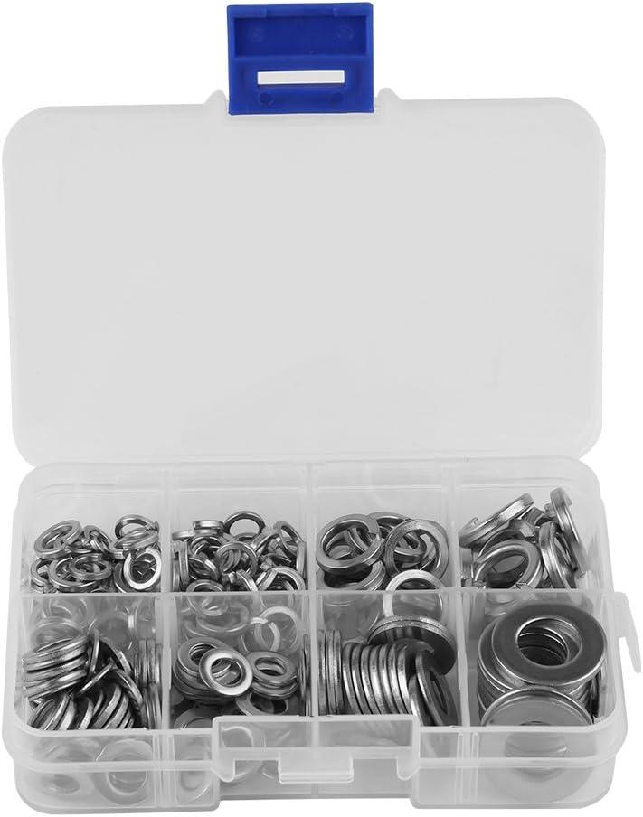 200 piezas de arandelas planas de acero inoxidable y arandela de resorte para herramientas de bloqueo M5 M6 M8 M10 con caja