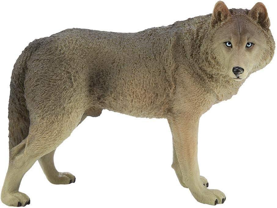 Kids Big Wolf Simulation Animal Model Action /& Toy Figures Educational Beige