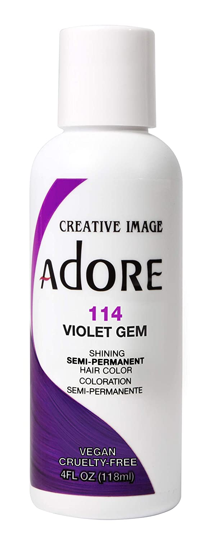 Adore Semi-Permanent Haircolor #114 Violet Gem 4 Ounce (118ml) (2 Pack)