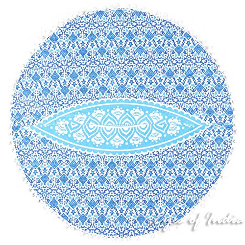 Eyes of India - 32'' Blue White Floor Meditation Pillow Cushion Seating Throw Cover Hippie Mandala Round Colorful Decorative Bohemian Indian Boho Dog bedCover Only by Eyes of India (Image #5)