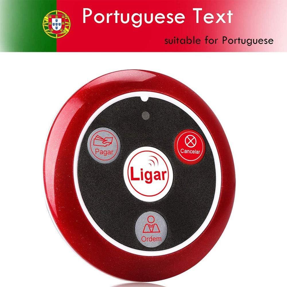 5 pack Retekess T117 Wireless Transmitter Pager Button 4 Keys Button in Portuguese for Restaurant Waiter Call System