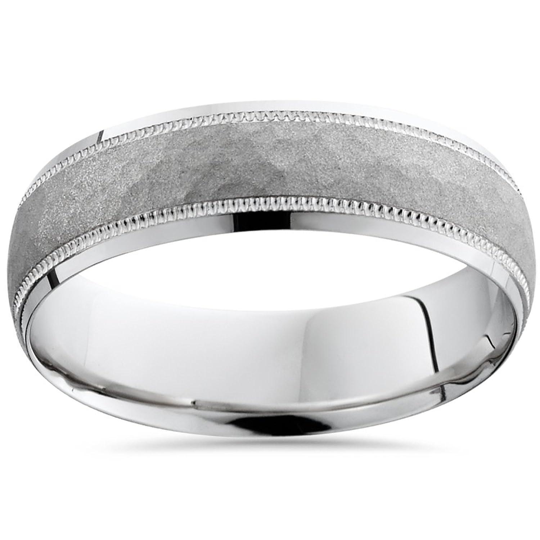 Solid 950 Platinum Mens 6mm Hammered Brushed Wedding Ring Band 49