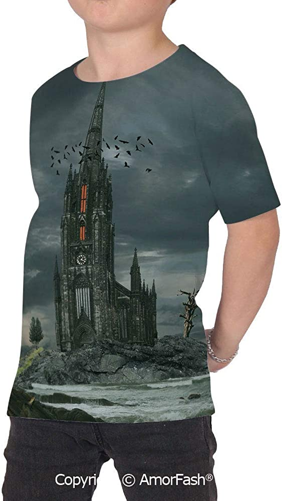 PUTIEN Gothic Decor Colorful Boys and Girls Soft Short Sleeve T-Shirt,Mystery Gothic Ca