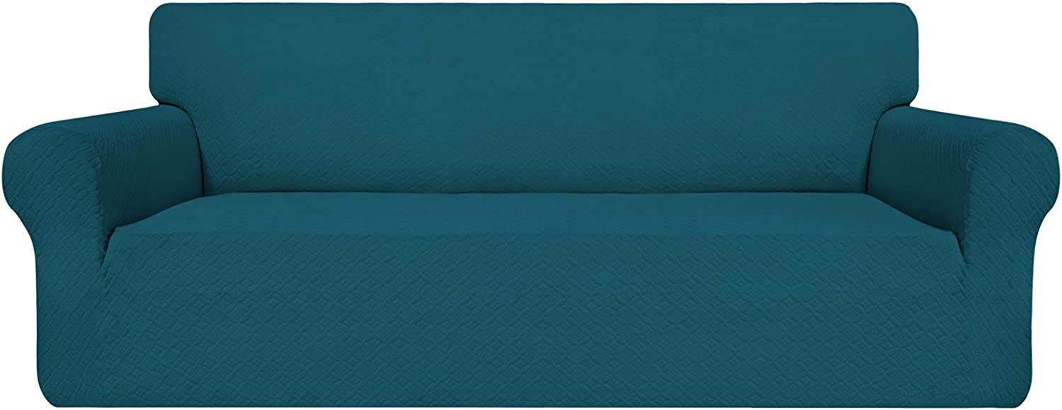 Easy-Going Couch Cover, Stretch Sofa Slipcover, Soft Jacquard Sofa Cover, Non-Slip Slipcovers, Furniture Protector for Kids, Pets, Dogs, Cats (Oversized Sofa, PeacockBlue)