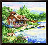 Design Works Crafts Counted Cross Stitch, Lakeside Cabin, 15 by 15 inches