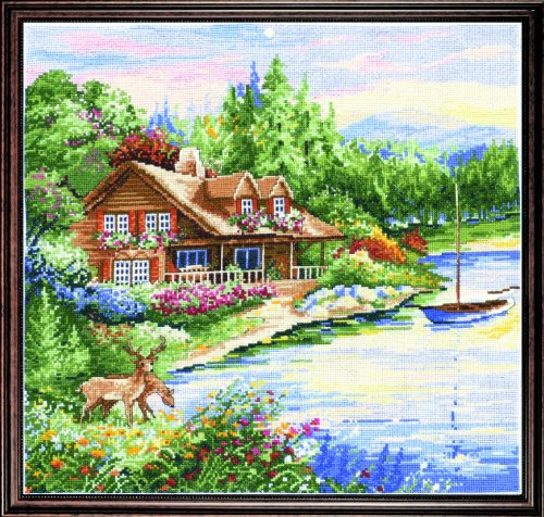 Counted Cross Stitch, Lakeside Cabin, 15 by 15 inches (Embroidery Color Chart)