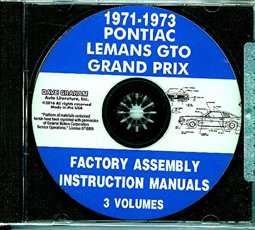 1971 1972 1973 PONTIAC FACTORY PARTS ASSEMBLY INSTRUCTION MANUAL CD For LeMANS, GTO, GRAND PRIX, SAFARI, Sport, Base, Judge