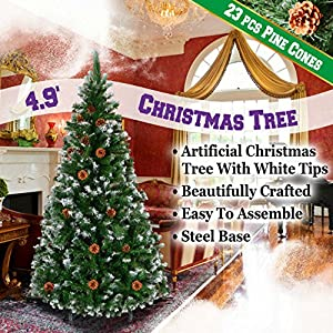 BenefitUSA Green 5' 6' 7' 7.5' Snow Tipped Christmas Tree with pinecones Artificial Realistic Natural Branches -Unlit with Steel Stand 1