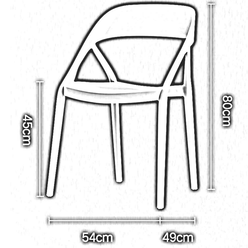 DALL Set med 2 stapelbar matstol modern plast bordsstol med ryggstöd fritid kaffestol 54 × 49 × 80 cm (Färg: T4) T4