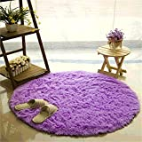Carpet, CAMAL Round Silk Wool Material Yoga Rug for Living Room Bedroom and Bathroom (Purple, 100cm)