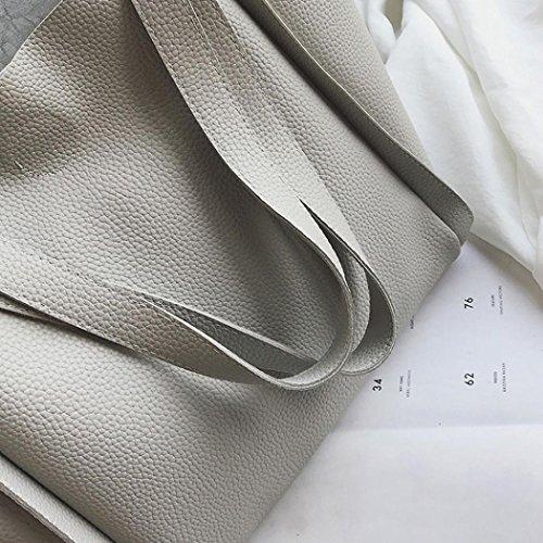 ESAILQ Cuero Bolso de Hombro Bolsa De Mochila Multiusos Compras Para Movil Mujer Niñas A Blanco