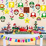 ANGOLIO 30Pcs Mario Brother Party Swirl Decorations