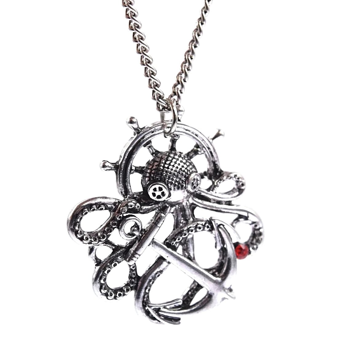 Amazon.com: Bling Cartel Octopus Steampunk Necklace Silver ...