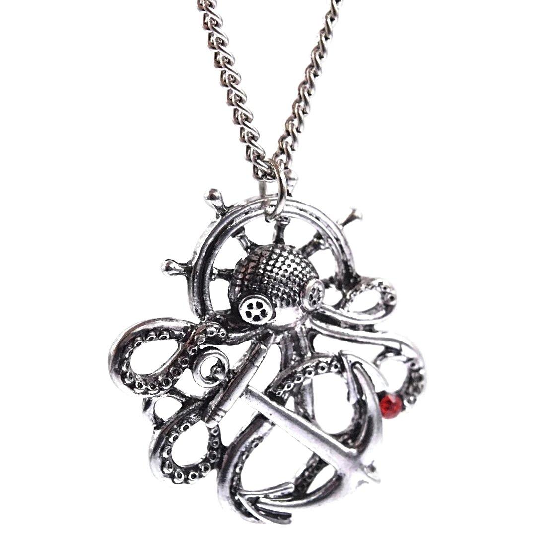 Amazon.com: Bling Cartel Octopus Steampunk Necklace Silver ...