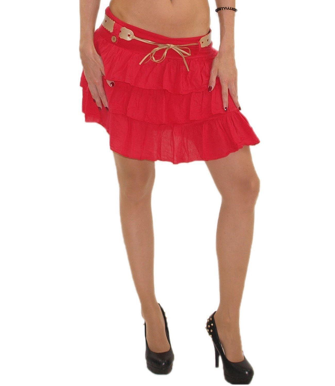 schöner Damen Mini Rock Strandrock Sommerrock Stufenrock Glockenrock Volantrock mit Gürtel optimal für Sommer DMR003