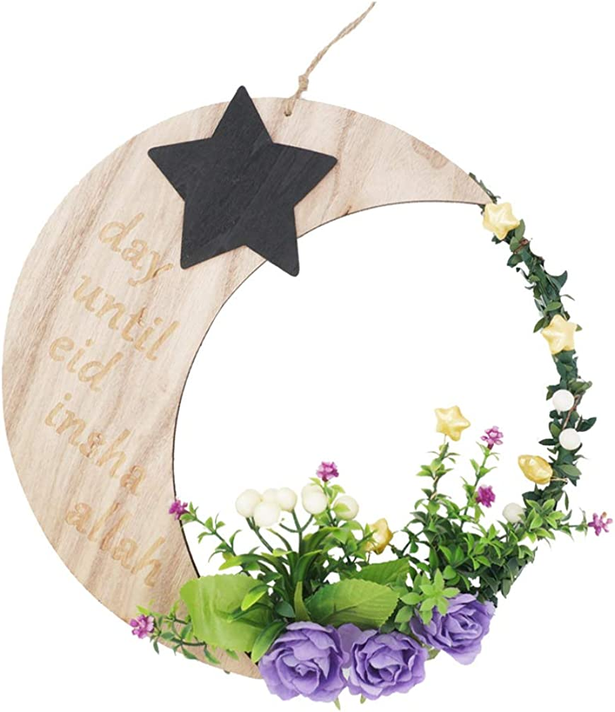 PRETYZOOM Guirnalda de Flores Guirnalda de La Puerta de Mubarak Guirnalda de Flores Artificiales Luna Estrella Colgante Adorno Colgante Decoración