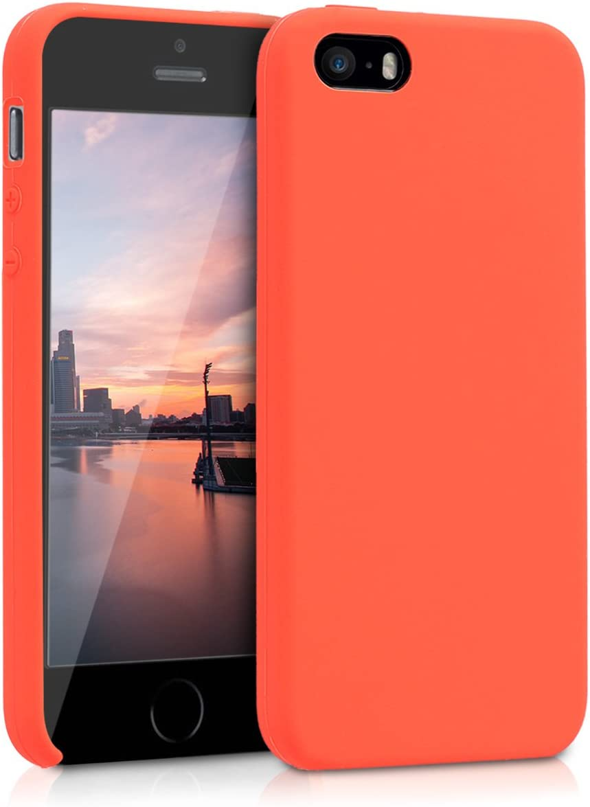 kwmobile TPU Silicone Case Compatible with Apple iPhone SE (1.Gen 2016) / 5 / 5S - Soft Flexible Rubber Protective Cover - Neon Orange