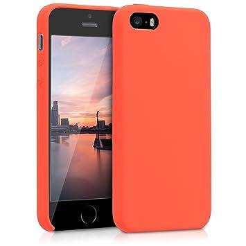 kwmobile Funda compatible con Apple iPhone SE / 5 / 5S - Carcasa de [TPU] para móvil - Cover [trasero] en [naranja neón]