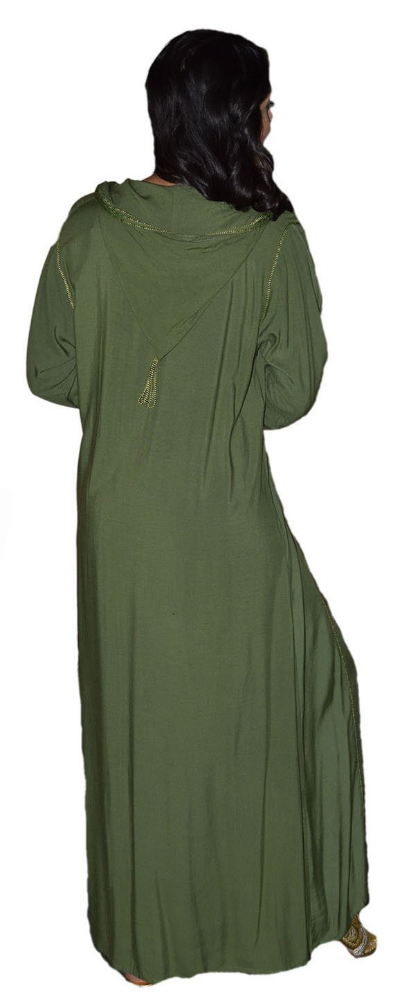 Moroccan Caftans Women Hand Made Djellaba Embroidered Size Extra Large Green by Moroccan Caftans (Image #6)