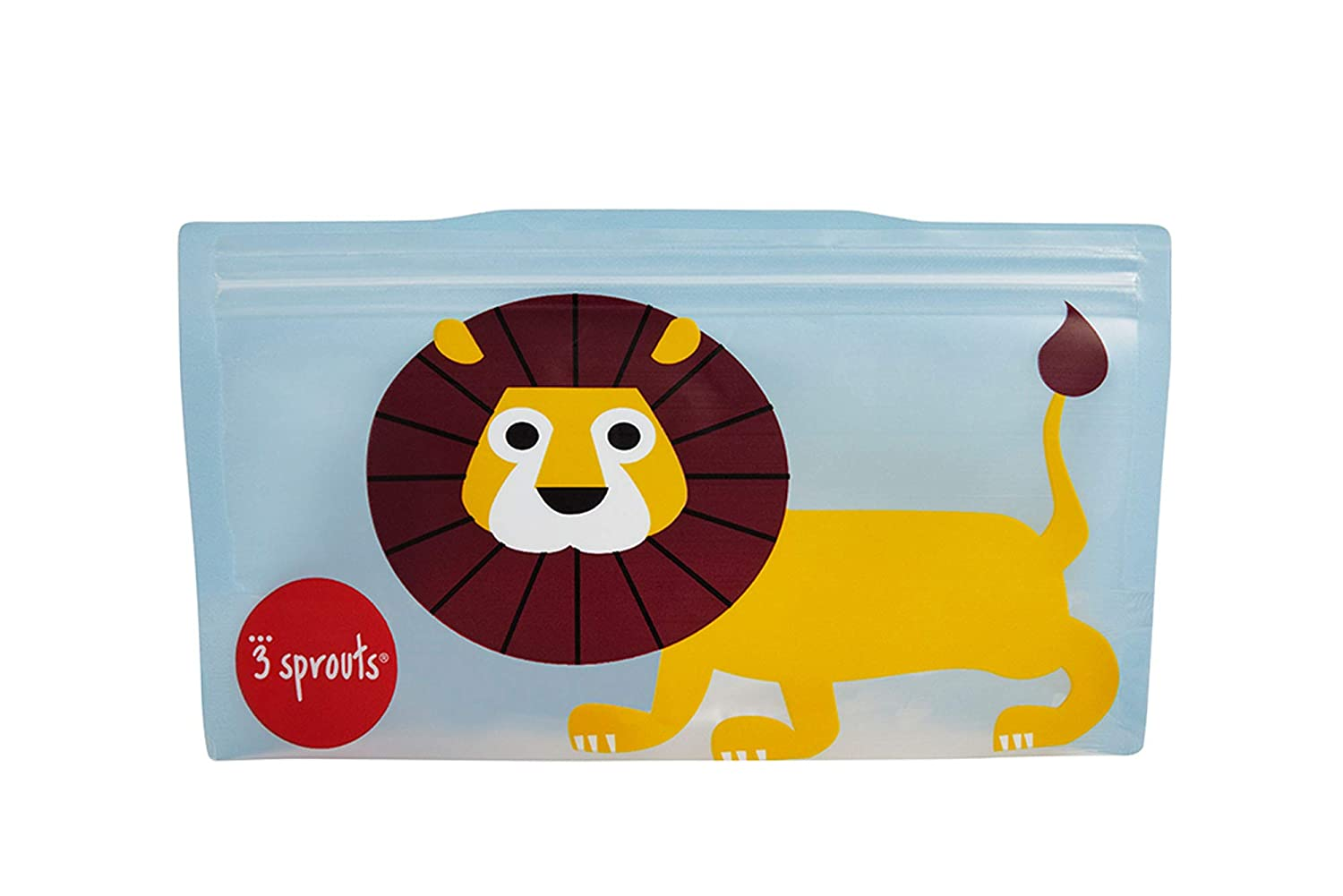 3 Sprouts Snack Bag - Reusable and Washable Travel Food Bags for Kids Lunch - 2 Pack, Blue, Lion