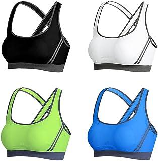 Vertvie Femme Lot de 4 Soutien-Gorge de Sport Push Up Brassière Lingerie sans Armature Respirant pour Yoga Fitness Jogging