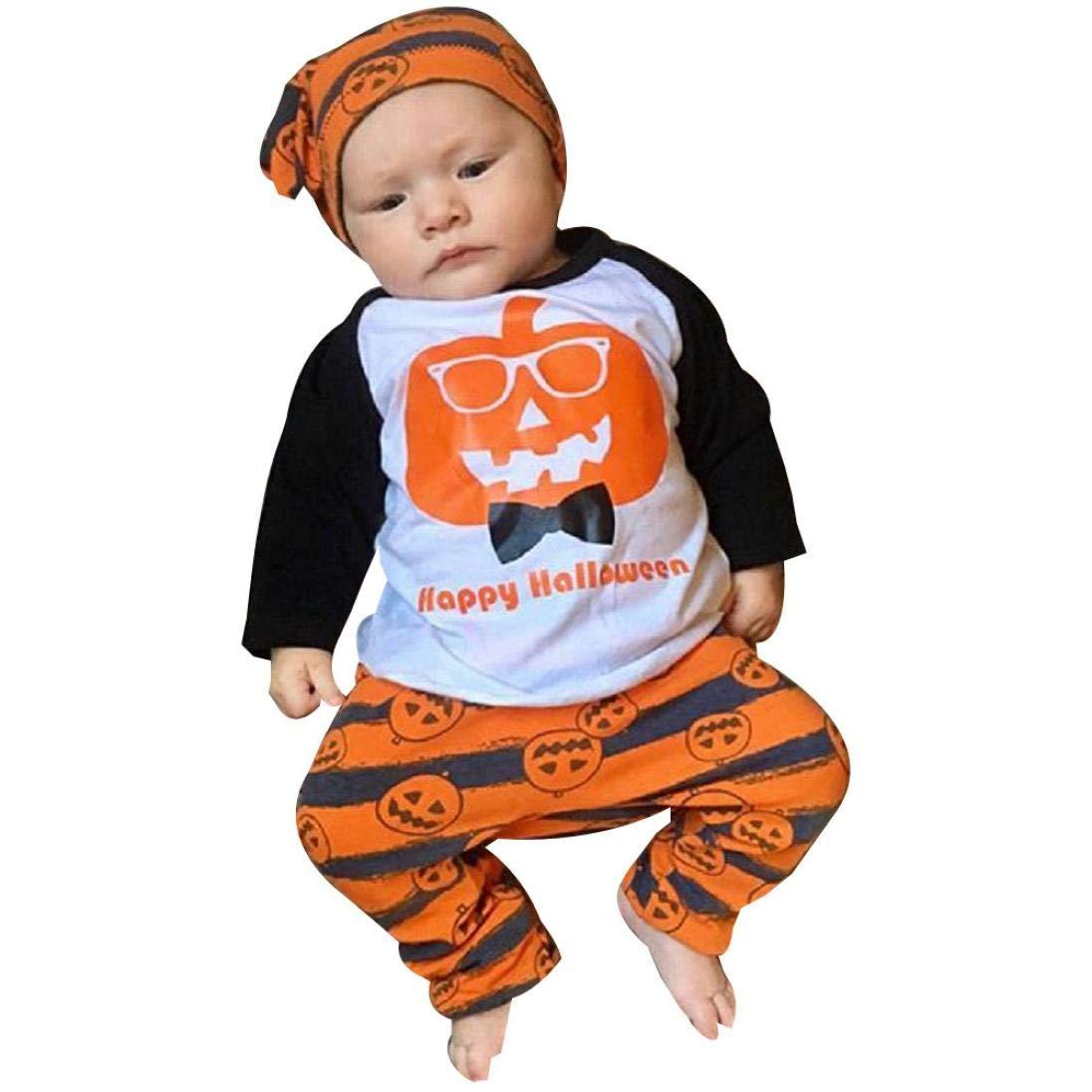 BYSTE_Halloween Costume Bambina, Manica lunga Halloween zucca Stampa Camicie Pullover Felpa Neonato Top+ Bambini a strisce Pantaloni lunghi del fumetto messi 2pcs