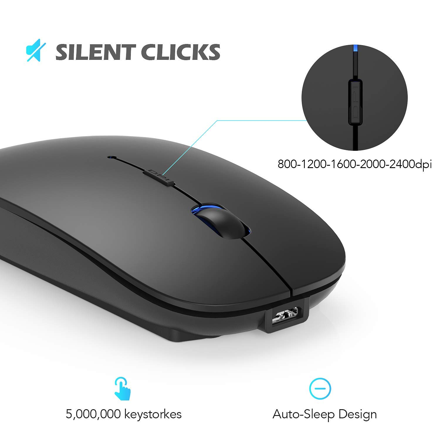 Hommie Wireless Bluetooth Mouse, Dual Mode Bluetooth 4.0 Mouse 2.4G Wireless Rechargeable Computer Mice, 5 Adjustable DPI, Less Noise for PC, Laptop, Mac, Android, Windows