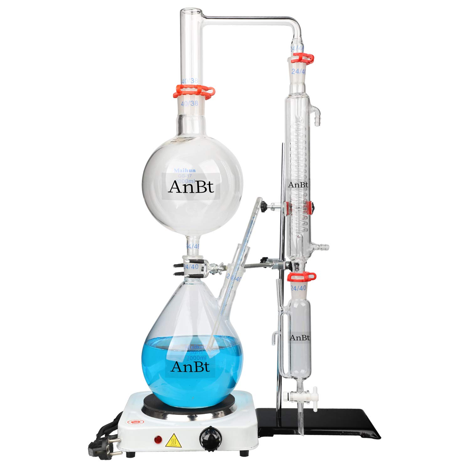 AnBt 2L Lab Essential Oil Distillation Kit Water Distiller Purifier DIY Home Essentials Chemistry Set with Hot Stove Condenser S35 & 24 or 40 Joint