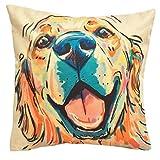 Redland Art Cute Pet Golden Retriever Dog Pattern Cotton Linen Throw Pillow Covers Car Sofa Cushion Cover Pillowcases Home Decor 18'x18' Inch 45 cm