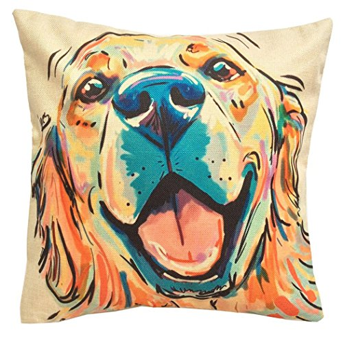 "Redland Art Cute Pet Golden Retriever Dog Pattern Cotton Linen Throw Pillow Covers Car Sofa Cushion Cover Pillowcases Home Decor 18""x18"" Inch 45 cm"