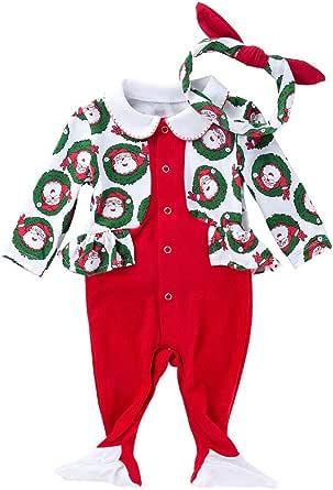 FANCYINN Bebé Chicos Chicas Papá Noel Mono de Navidad Romper Snap Pijama de Navidad de Manga Larga Ropa de casa con Diadema