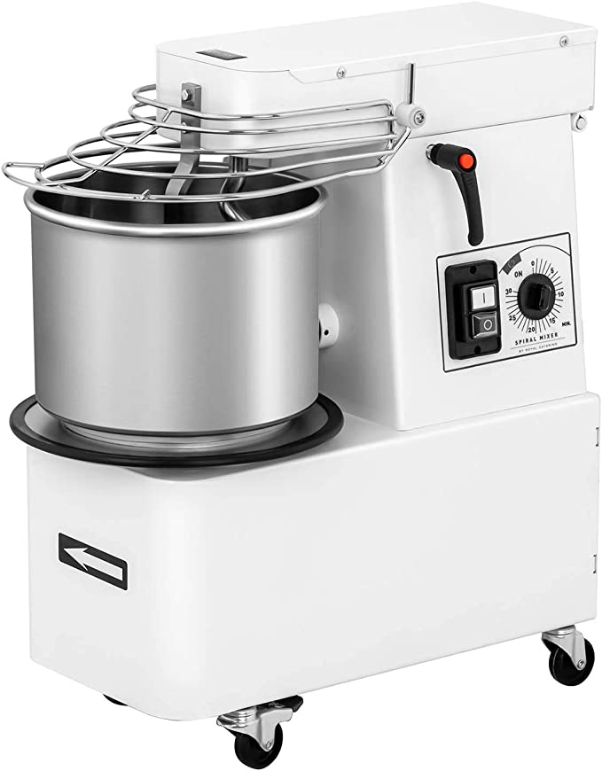 Royal Catering Máquina Amasadora para Pan Y Pizza RC-SMRH15 (Volumen: 10 L, 35 kg/h, Motor: 370 W, con Temporizador y Cabezal inclinable): Amazon.es