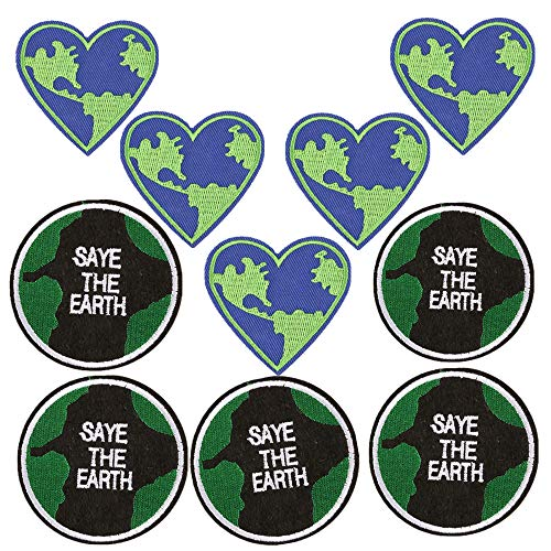 (10 Pack) Save The Earth Iron on Patches Heart Shaped Round Badges Sew Embroidered Appliques for Motif for Clothing Repair Jeans Jackets Backpacks (Earth Patches Planet)