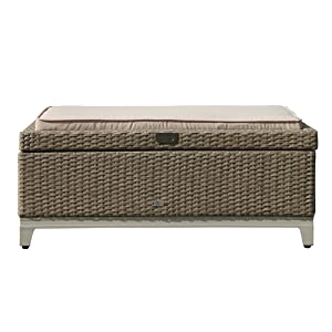 Orange Casual Outdoor 3 in 1 Resin Wicker Storage Bench Box with Seat Cushion, Aluminum Frame, Tan Rattan and Beige Cushion