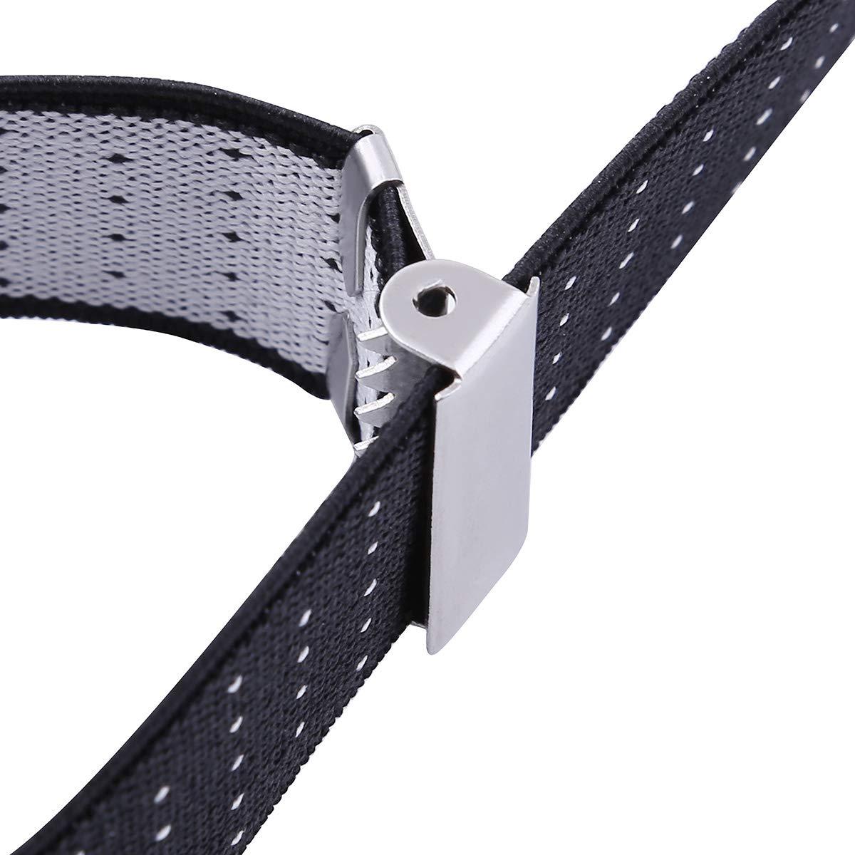 IEFIEL 1 Pair Mens Y-Shape Shirt Stays Holders Elastic Sock Garters Suspenders with Non-slip Locking Clamps Adjustable Length