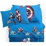 Disney Sábana Capitán América Individual (sopra cm.150x 280+ Bajera 90x 200+ 1Funda de Almohada) Caleffi no Incluye Colcha raffigurata