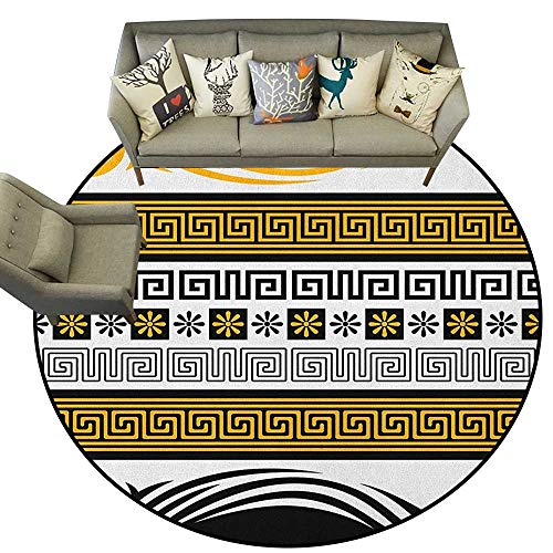 - Greek Key,Bedroom Rugs Neoclassical Borders Collection Meander Pattern and Flowers with Waves D72 Nursery Circle Rug for Infant and Children